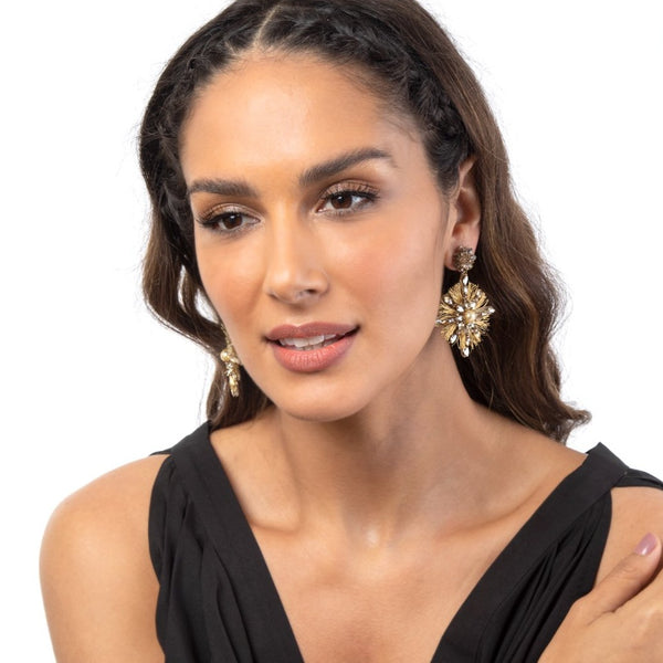 Gold Statement Earrings with pearl accents