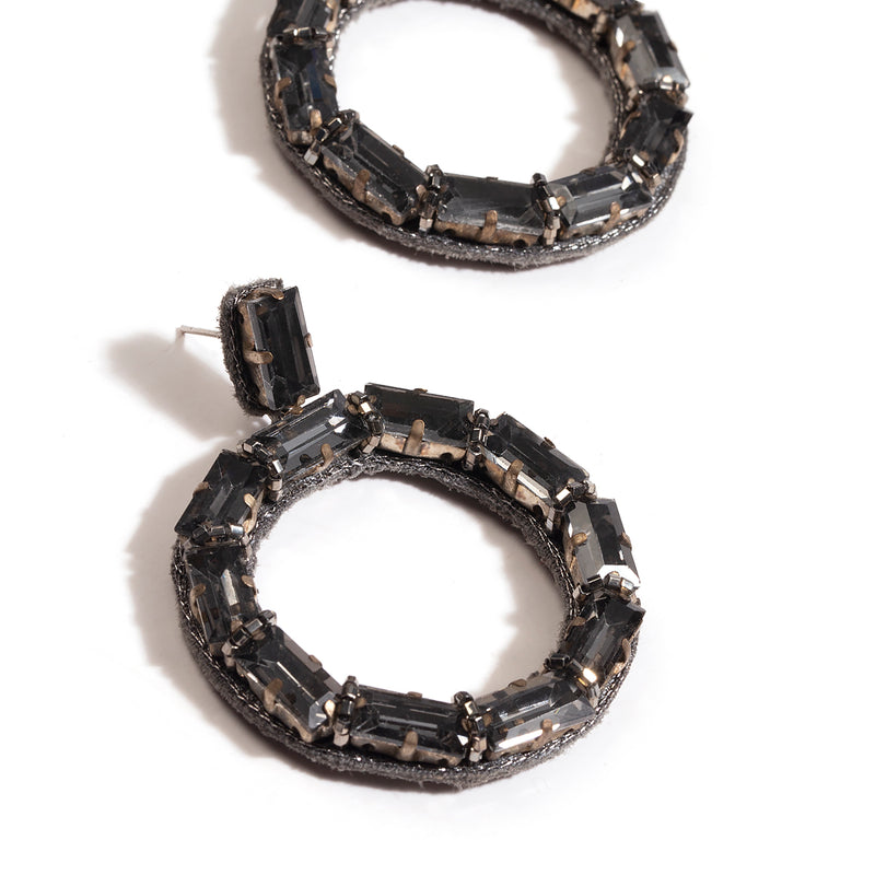 Deepa by Deepa Gurnani Handmade Jalsa Earrings Gunmetal