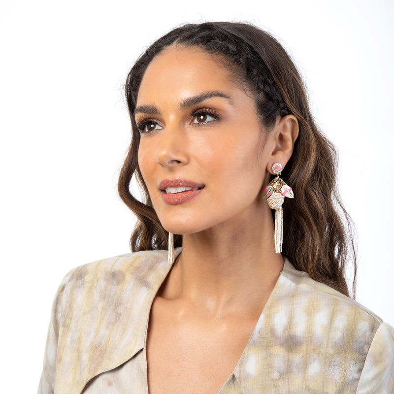 Unique Deepa Gurnani statement shell earrings