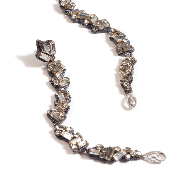 Fashion crystal earrings in gunmetal
