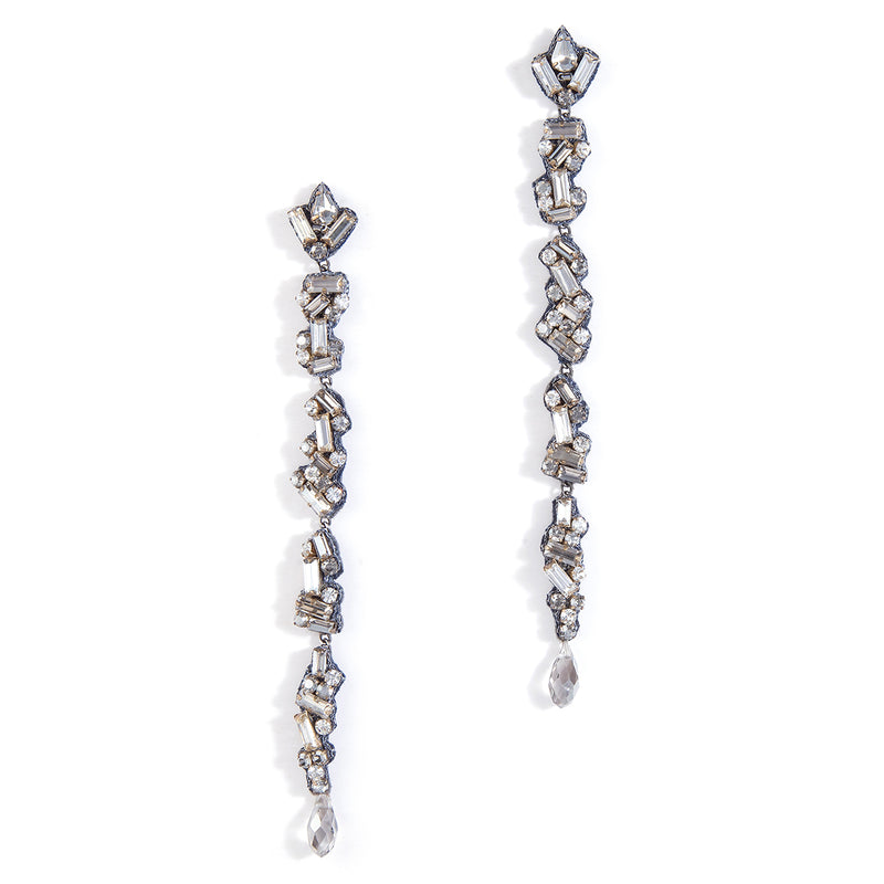 Crystal post earrings in gunmetal