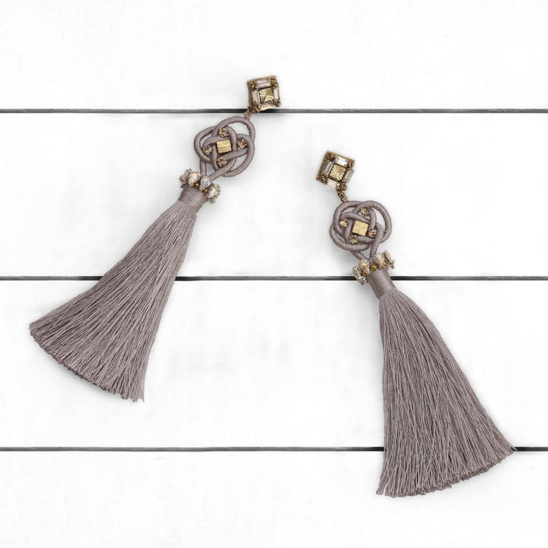 Deepa by Deepa Gurnani Handmade Omaria Earrings Champagne on Wood Background