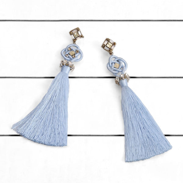 Deepa by Deepa Gurnani Handmade Omaria Earrings Powder Blue on Wood Background
