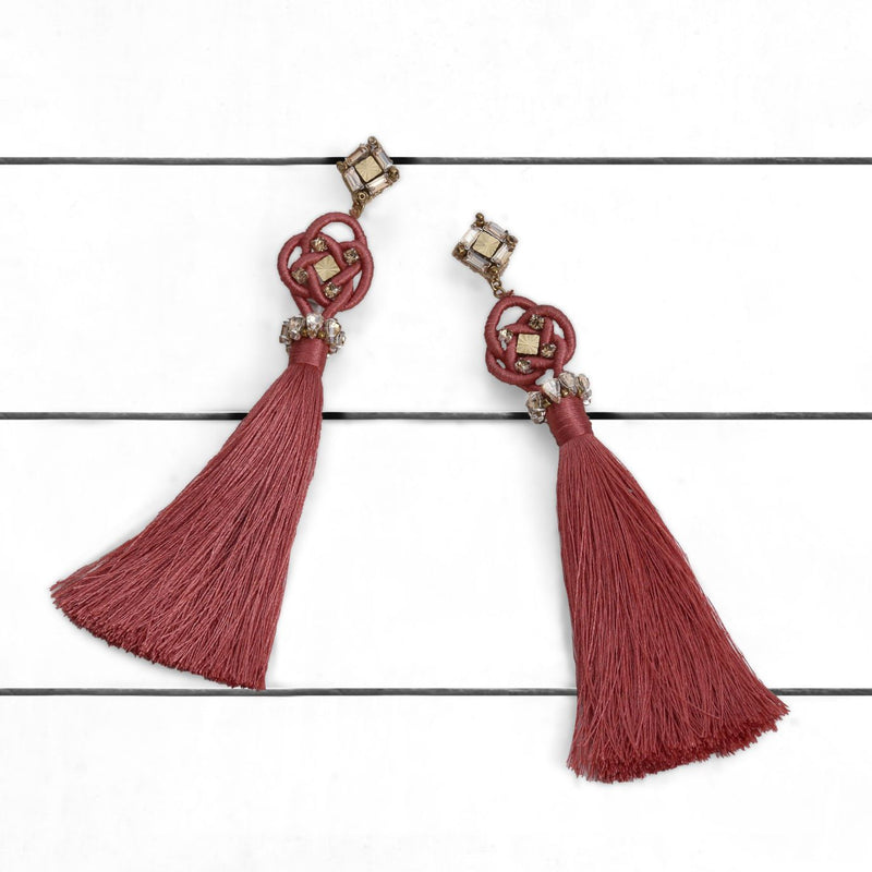 Deepa by Deepa Gurnani Handmade Omaria Earrings Rose on Wood Background