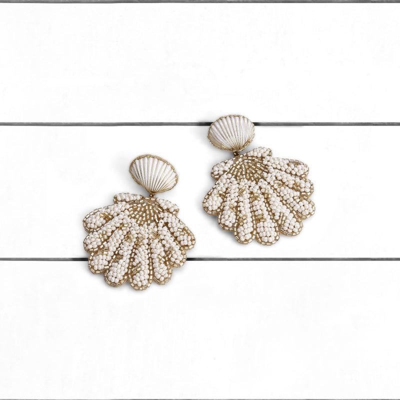 Deepa by Deepa Gurnani Handmade Pennie Earrings Ivory on Wood Background