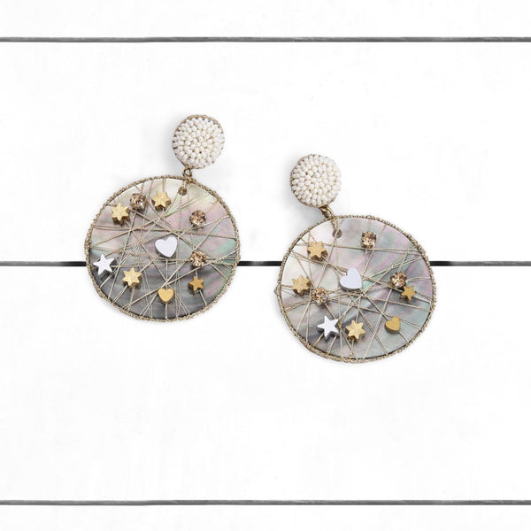 Deepa by Deepa Gurnani Handmade Ives Earrings Ivory on Wood Background