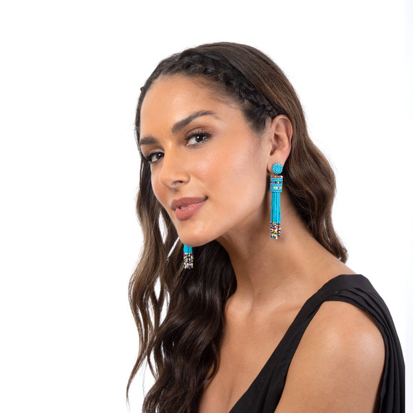 Blue Beaded Statement Earrings by Deepa Gurnani