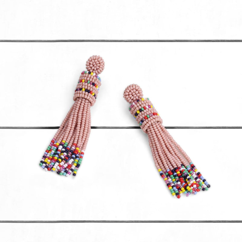 Deepa by Deepa Gurnani Handmade Emie Earrings Pink on Wood Background