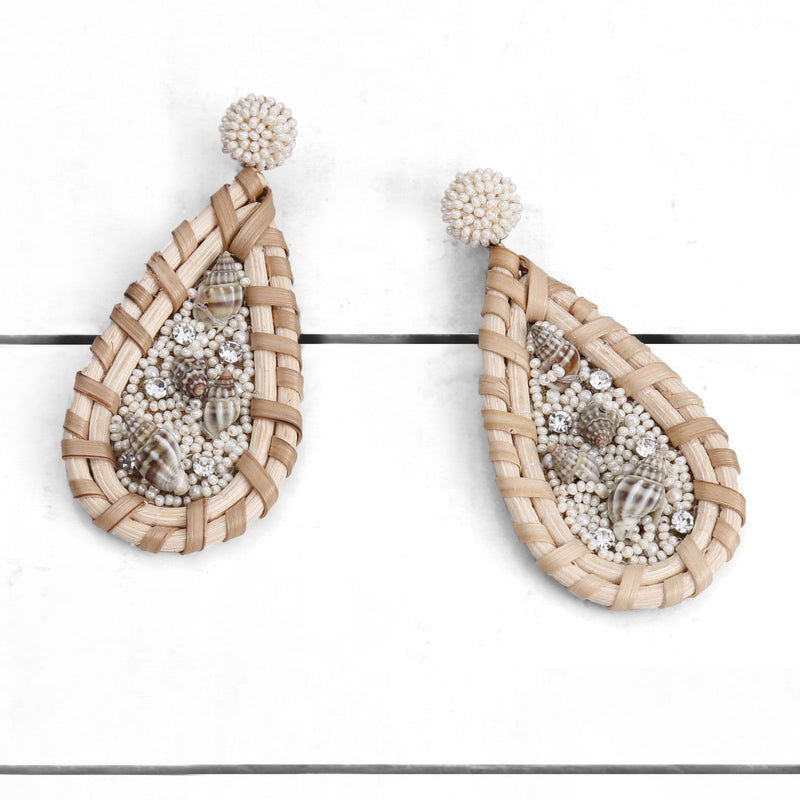 Deepa by Deepa Gurnani Handmade Gillian Earrings Ivory on Wood Background