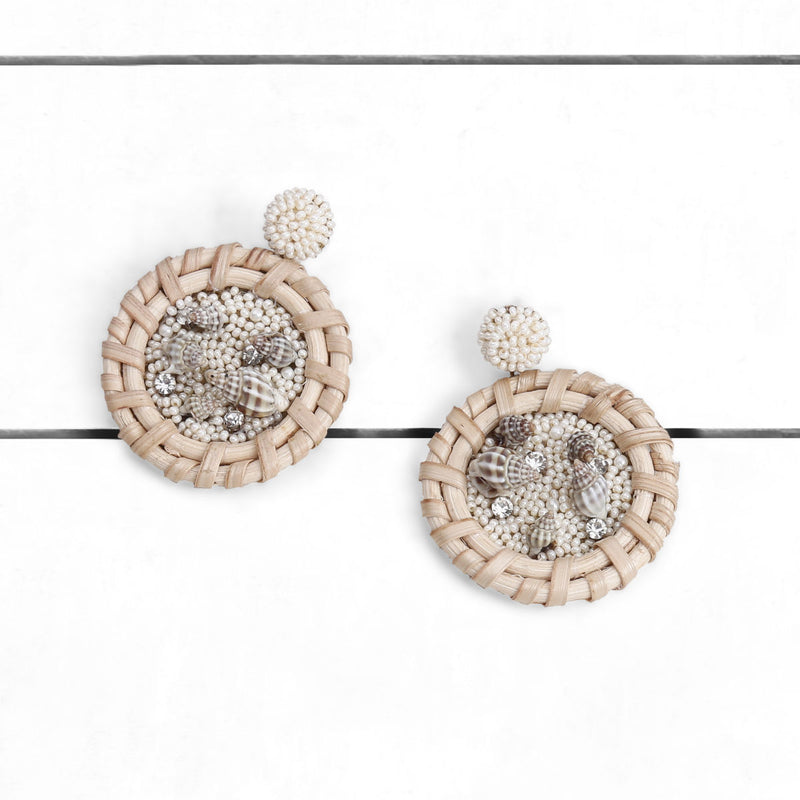 Deepa by Deepa Gurnani Handmade Erie Earrings Ivory on Wood Background