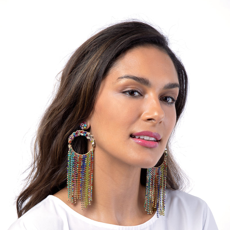 Rainbow chandelier earrings by Deepa Gurnani