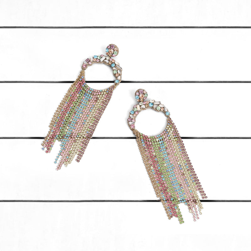 Deepa by Deepa Gurnani Handmade Gayle Earrings Pastel Multi on Wood Background