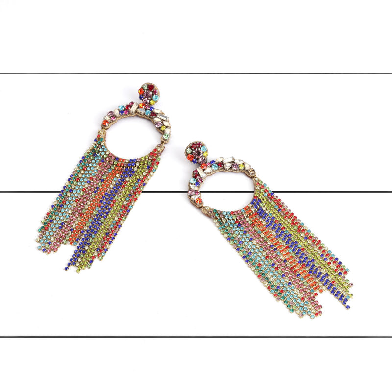 Deepa by Deepa Gurnani Handmade Gayle Earrings Multi Color on Wood Background