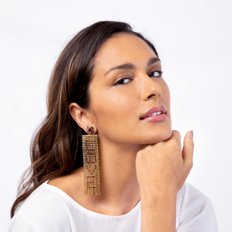 LOVE crystal handmade gold chandelier earrings