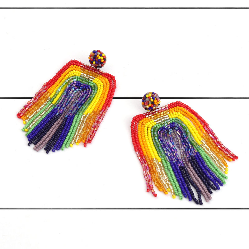 Deepa by Deepa Gurnani Handmade Becka Earrings Multi Color on Wood Background