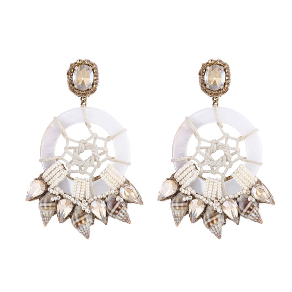 Deepa by Deepa Gurnani Handmade Mother of Pearl and Shell Earrings