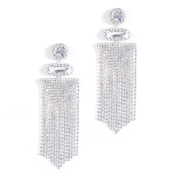 Deepa by Deepa Gurnani Anvi Silver Crystal Earrings
