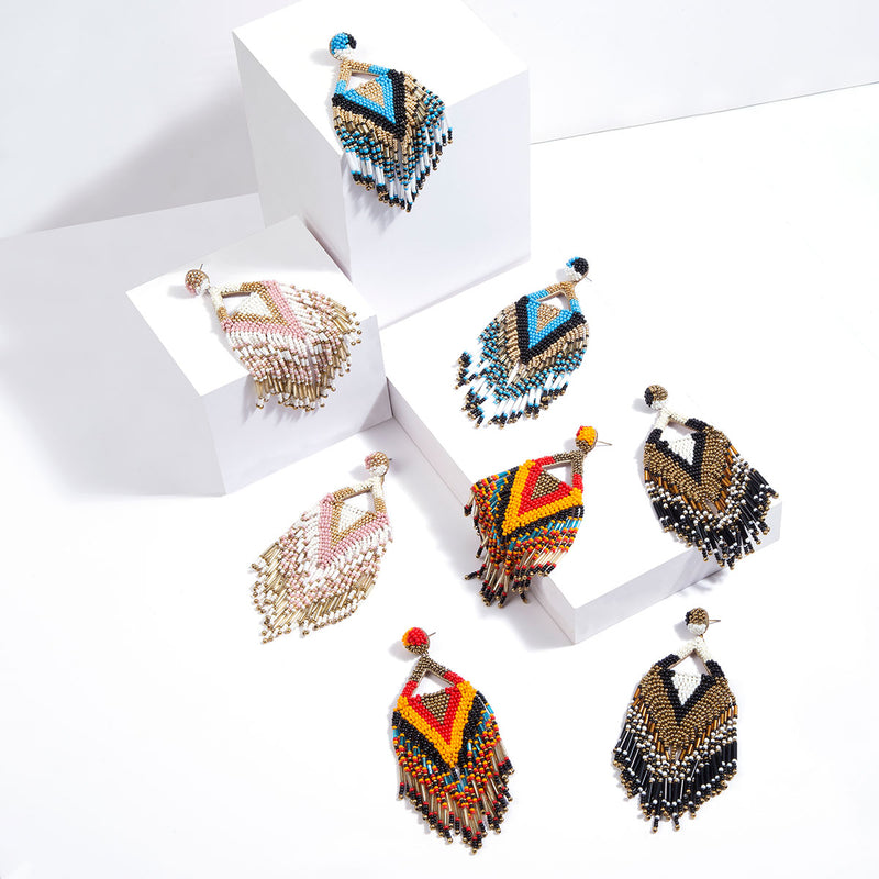 Handmade fringe earrings in multicolor