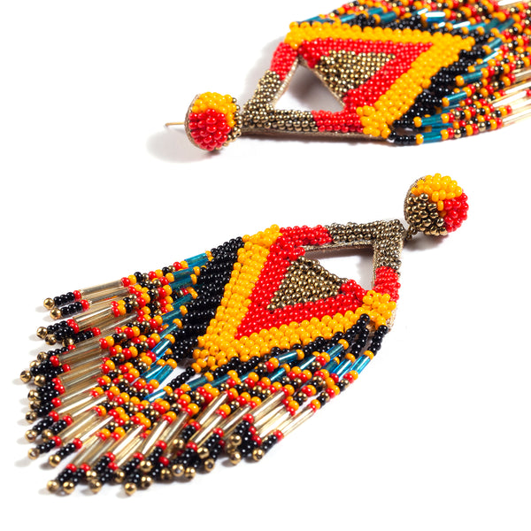 Orange fringe beaded earrings