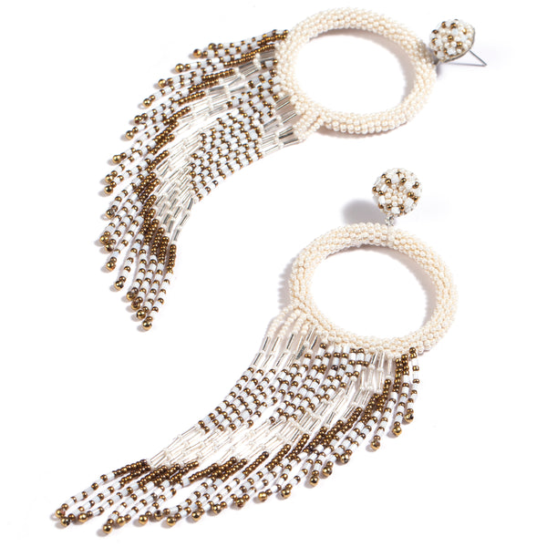 White and gold beaded chandelier earrings