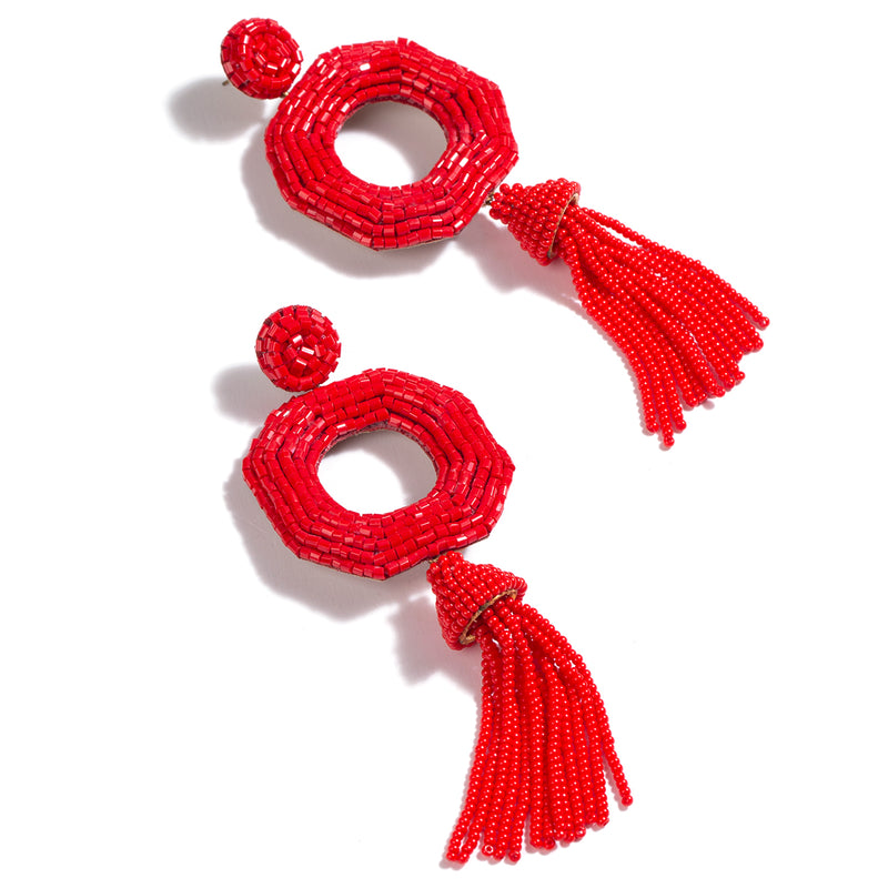 Red festive beaded earrings