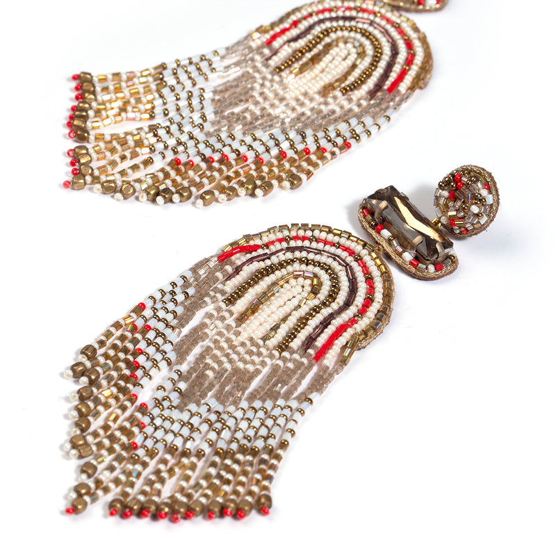 Model wearing handmade beaded chandelier earrings