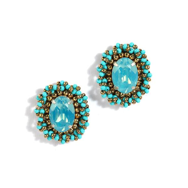 handmade mint brass beaded stud earrings