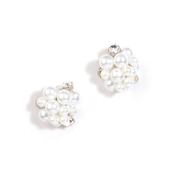 handmade ivory crystal pearl stud earrings