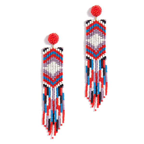 handmade red beaded earrings