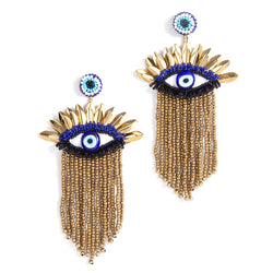 handmade gold beaded evil eye earrings