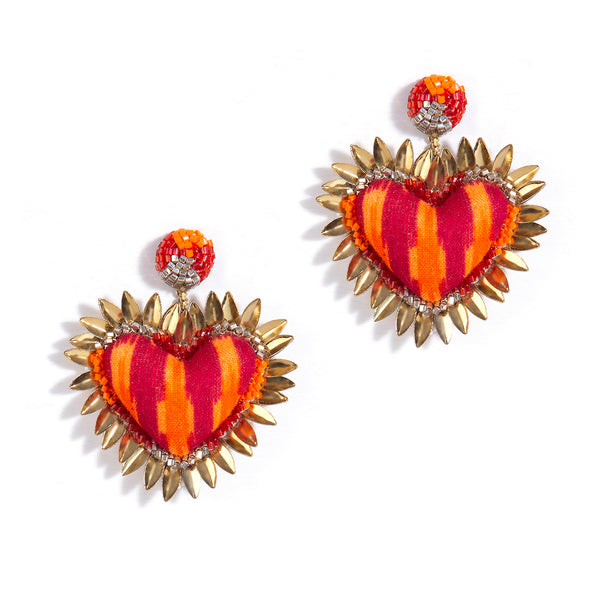 Heart Shaped Prisha Earring in Orange Color
