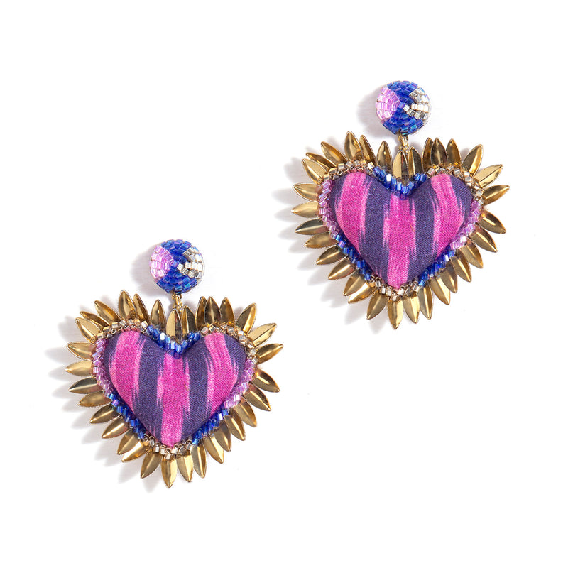 Heart Shaped Prisha Earring in Plum Color
