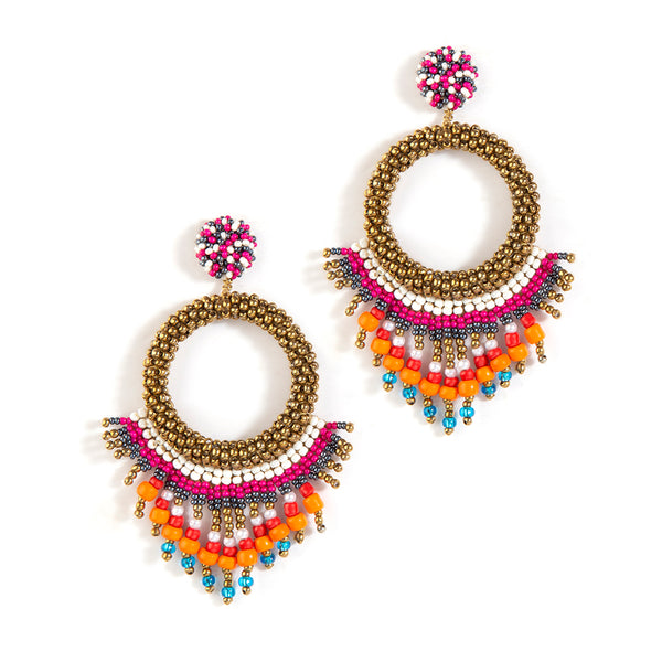 handmade fuchsia beaded earrings