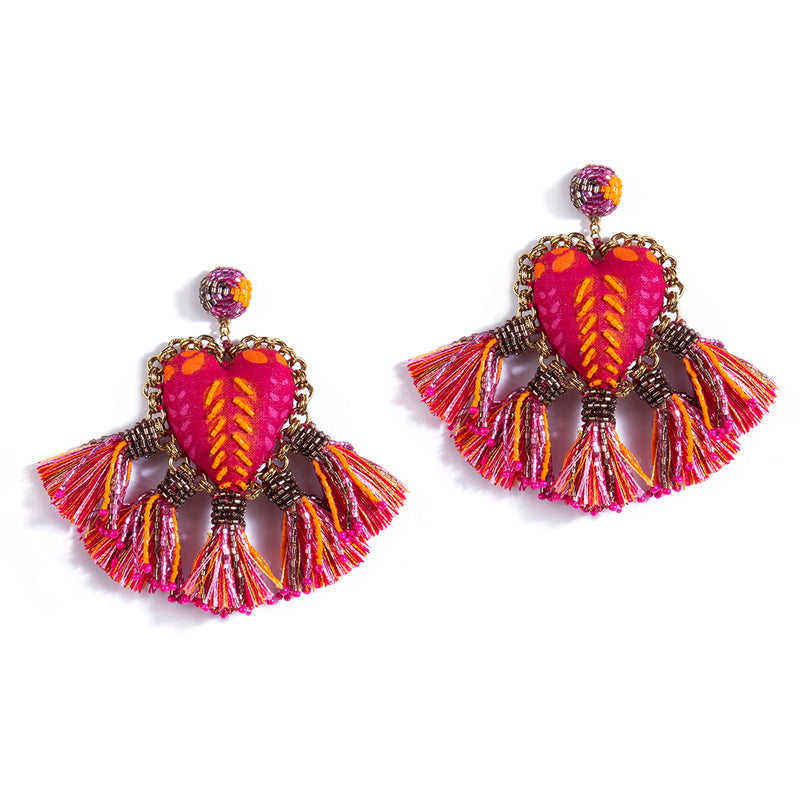 Handmade Zaina Earrings in Fuchsia