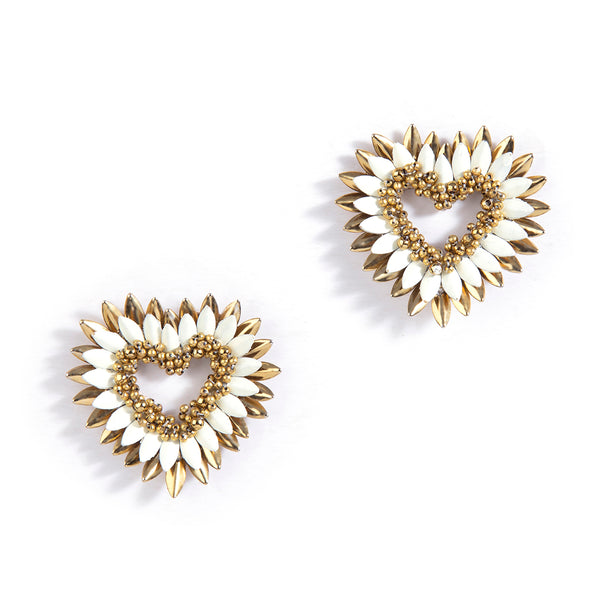 handmade ivory beaded heart stud earrings