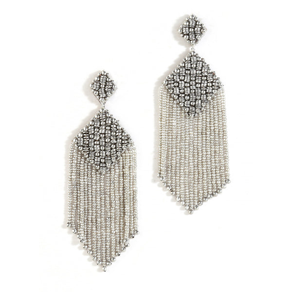handmade beaded silver earrings