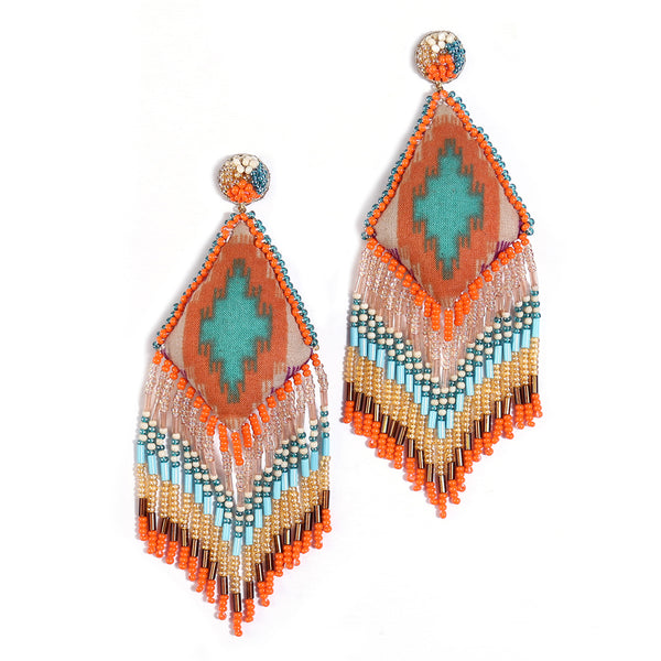 handmade orange beaded earrings