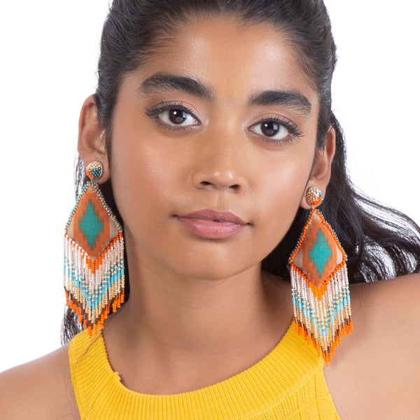 Handmade orange fringe earrings