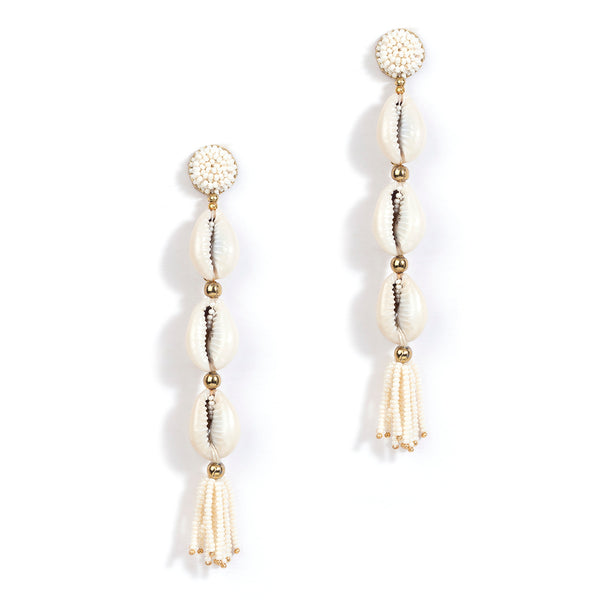 Shell earrings with beaded tassel