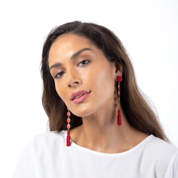 Handmade Rani Earrings with beaded tassel