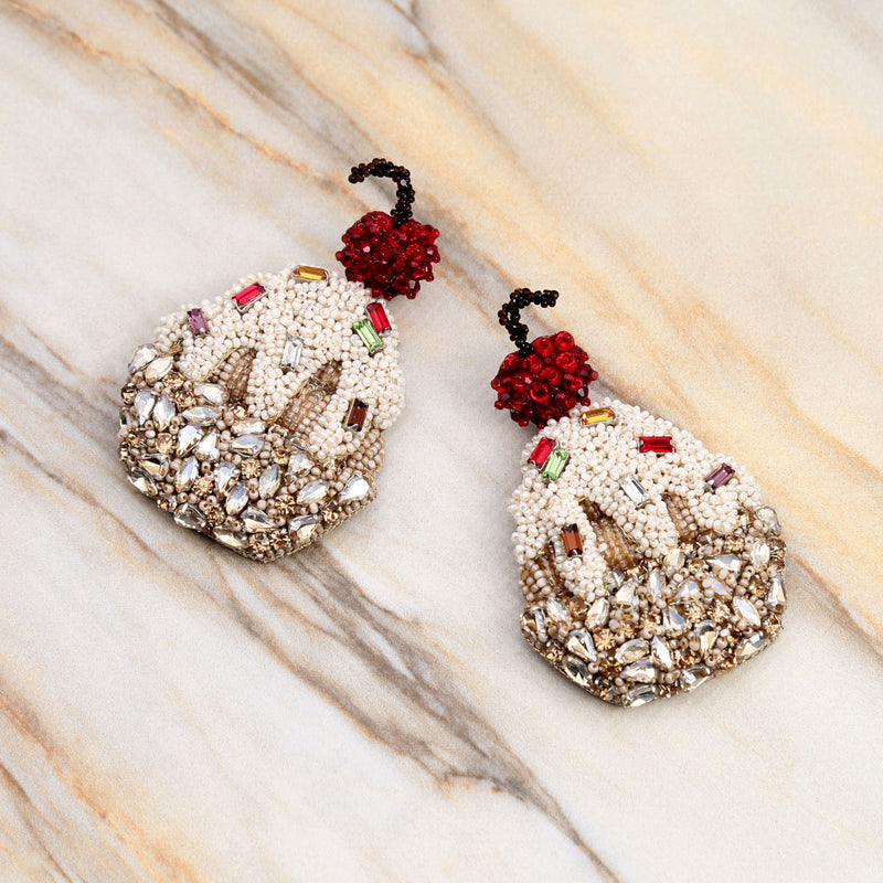 Deepa Gurnani Handmade Sundae Earrings on Marble Background