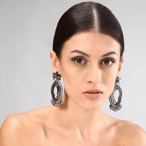 Model Wearing Deepa Gurnani Handmade Alex Luxe Earrings