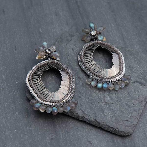Deepa Gurnani Handmade Alex Luxe Earrings on Slate Background