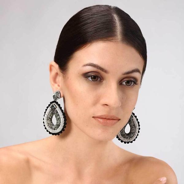 Model Wearing Deepa Gurnani Handmade Aliza Luxe Earrings
