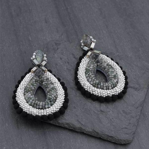 Deepa Gurnani Handmade Aliza Luxe Earrings on Slate Background