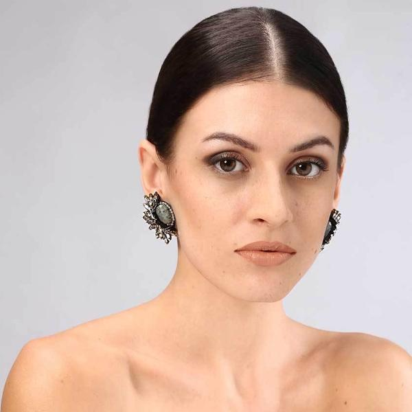 Model Wearing Deepa Gurnani Handmade Kaila Clip-on Luxe Earrings