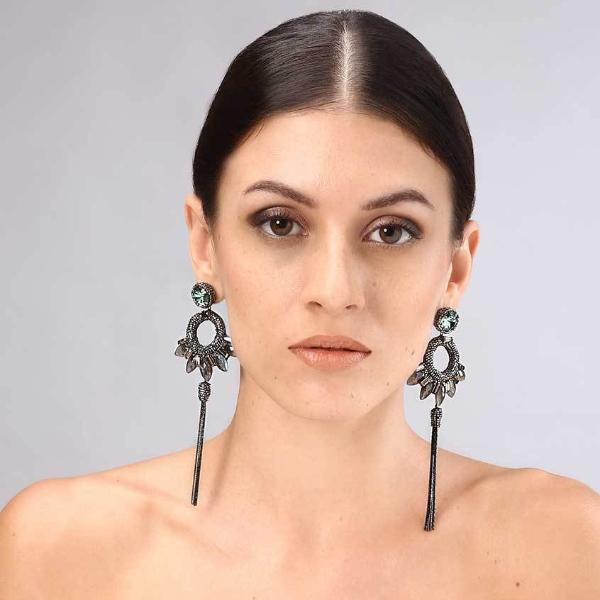 Model Wearing Deepa Gurnani Handmade Christina Luxe Earrings