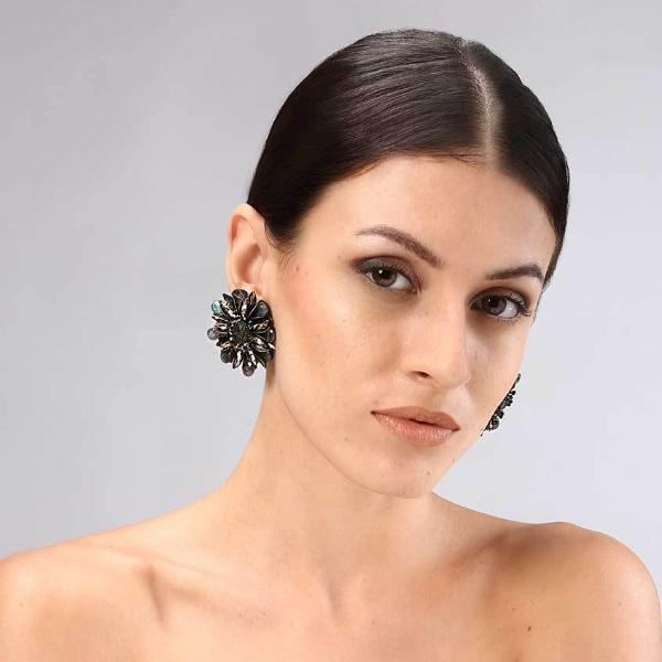 Model Wearing Deepa Gurnani Handmade Aryssa Clip-on Luxe Earrings