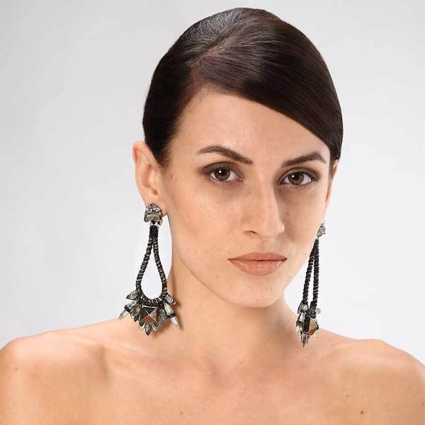 Model Wearing Deepa Gurnani Handmade Emmalee Luxe Earrings