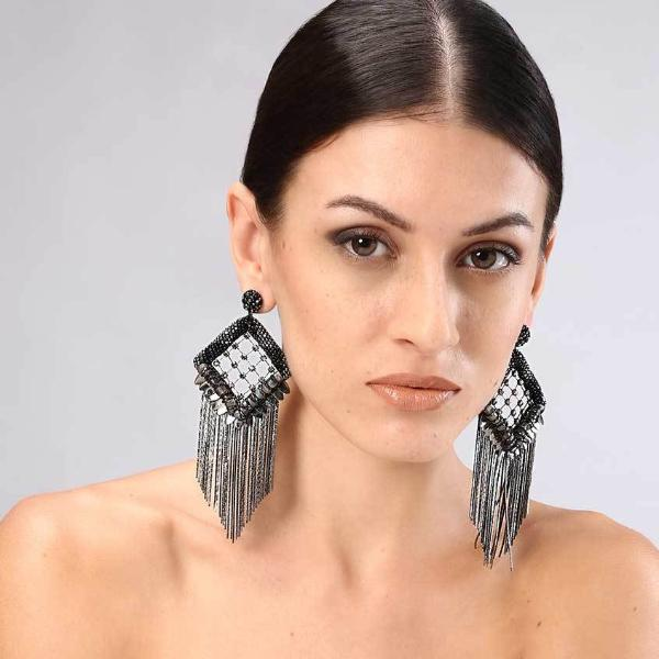Model Wearing Deepa Gurnani Handmade Paulina Luxe Earrings